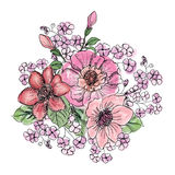 Flower bouquet. Floral frame. Flourish greeting card. Blooming f Stock Photography