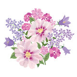 Flower bouquet. Floral frame. Flourish greeting card. Blooming f. Lowers isolated on white background stock illustration
