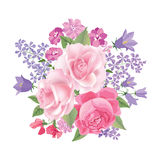 Flower bouquet. Floral frame. Flourish greeting card. Blooming f Stock Photos