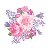 Flower bouquet. Floral frame. Flourish greeting card. Blooming f. Lowers isolated on white background royalty free illustration