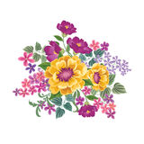 Flower bouquet. Floral frame. Flourish greeting card. Blooming f Stock Photo