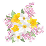 Flower bouquet. Floral frame. Flourish greeting card. Blooming f Stock Images
