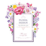 Flower bouquet. Floral frame. Flourish greeting card. Blooming f Royalty Free Stock Photos