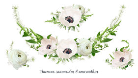Flower Bouquet floral wreath, vector design object element. Peac Stock Photos