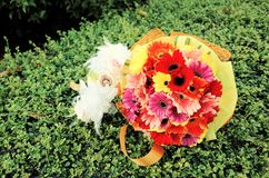 Flower bouquet. Bouquet of flowers was prepared for congratulation moment Stock Image