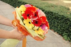 Flower bouquet. Bouquet of flowers was prepared for congratulation moment Royalty Free Stock Image