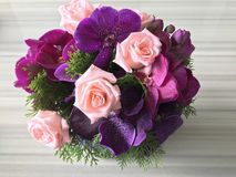 Flower bouquet. Fresh roses flower bouquet arrangement Stock Image