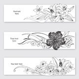 Flower bouquet header set. Floral decor collection Royalty Free Stock Photo