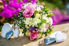 Flower bouquet with hearts. Stock Images