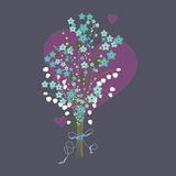 Flower bouquet with hearts. Royalty Free Stock Photo
