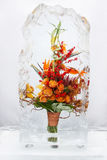 Flower bouquet in Ice V Royalty Free Stock Photos