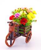 Flower Bouquet In Wooden Basket Stock Photos