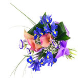 Flower bouquet from iris, calla and other flowers isolated. Stock Images