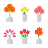 Flower bouquet isolated icons on white background. Stock Photos