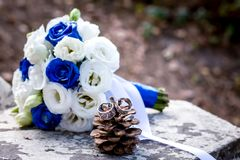 Flower, bouquet, love, day, valentine, marriage, background, hymeneal, rings, decoration, concept, holiday, object. Flower, bouquet, love, day, valentine Royalty Free Stock Photos
