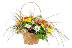 Flower bouquet from multi colored chrysanthemum and other flower Stock Photo