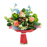 Flower bouquet from multi colored roses, iris and other flowers. Stock Photo