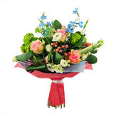 Flower bouquet from multi colored roses, iris and other flowers. Royalty Free Stock Photo