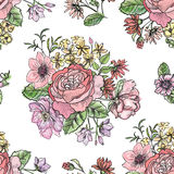 Flower bouquet pattern. Floral watercolor frame. Stock Image