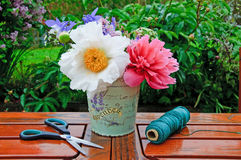 Flower bouquet of peonies Stock Image
