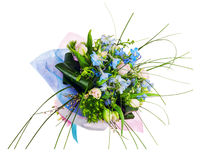 Flower bouquet from pink roses, iris and other flowers. Royalty Free Stock Photos