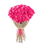 Flower bouquet of 50 pink roses. Isolated on white background Stock Image