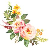 Flower bouquet with pink roses. Royalty Free Stock Image