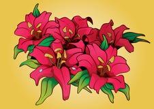 Flower Bouquet PinkTattoo Stock Photo