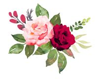 Flower bouquet with red and pink roses. Stock Images