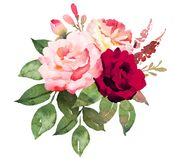 Flower bouquet with red and pink roses. Royalty Free Stock Images