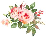 Flower bouquet with red an pink roses. Watercolor hand-painted illustration Stock Photo