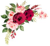 Flower bouquet with red and pink roses. Watercolor hand-painted Stock Photos
