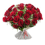 Flower bouquet from red roses isolated on white background. Closeup stock photography