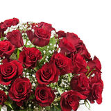 Flower bouquet from red roses isolated on white background. Royalty Free Stock Photography