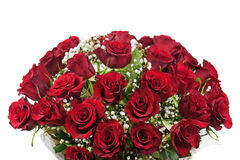 Flower bouquet from red roses isolated on white background. Stock Images