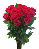 Flower bouquet from red roses isolated on white background. Royalty Free Stock Images