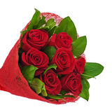 Flower bouquet from red roses isolated on white background. Stock Photo