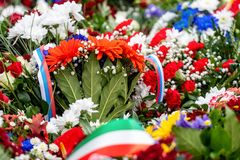 Flower bouquet with ribbon of Russia flag. National Day of the Russian Federation - image.  stock photography