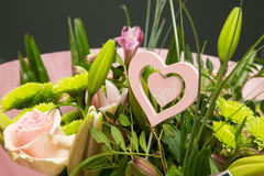 Flower bouquet with romantic heart Stock Photo