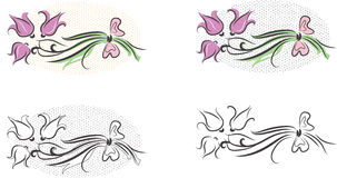 Flower bouquet set of cliparts (vector) Royalty Free Stock Image