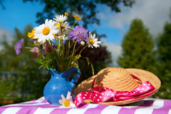Flower bouquet in the summer garden Stock Image