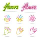 Flower bouquet symbols. Set of flower bouquet symbols and handwritten word Stock Photo