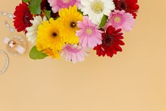 Flower bouquet top view wedding vanity dressing table with room for text royalty free stock photos