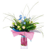 Flower bouquet from tulips, iris and other flowers. Royalty Free Stock Photo