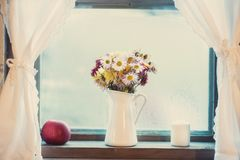 Flower bouquet with variety of daisies. Diversity of mums bouquet in a white vase at the window Royalty Free Stock Photography