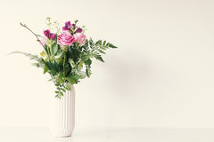 Flower bouquet in vase. With copy space Stock Photo