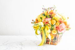Flower bouquet in vase. Decoration in a room Royalty Free Stock Image