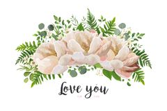 Flower Bouquet vector design element. Peach, pink rose peony, wa. X flowers eucalyptus, green fern leaf, berry herbs. Lovely floral card elegant template with Royalty Free Stock Photo