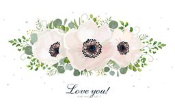 Flower Bouquet vector watercolor design element. Peach, pink whi. Te rose Anemone flower, wax, eucalyptus, green fern leaf, berry mix. Greeting lovely floral Royalty Free Stock Photo