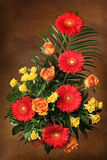 Flower bouquet. Warm colour, brown background Stock Photography